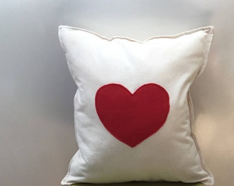 Heart cushion, Mother's Day gift, love heart, appliquéd cushion, heart pillow, decorative pillow, scatter cushion,  gift for her,