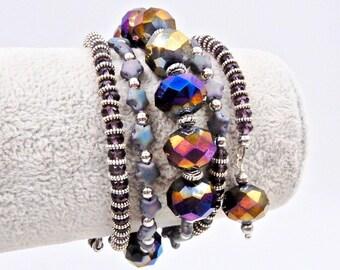 Purple memory wire bracelet, beaded bracelet, memory wire wrap bracelet, wrap bracelet, purple bracelet, cuff bracelet, crystal bracelet