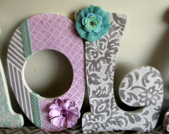 Wooden Nursery Letters, nursery name, nursery decor, nursery letters, purple aqua nursery, purple nursery decor, purple nursery name