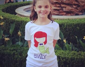Cutie Princess Ariel The Little Mermaid Inspired Applique Tshirt