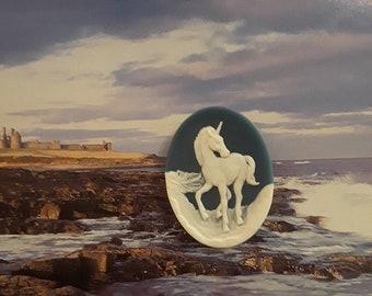 Blue Unicorn cameo fridge magnet, resin unicorn cameo magnet, magical creature magnet, gift magnet, blue kitchen decor, magical decor