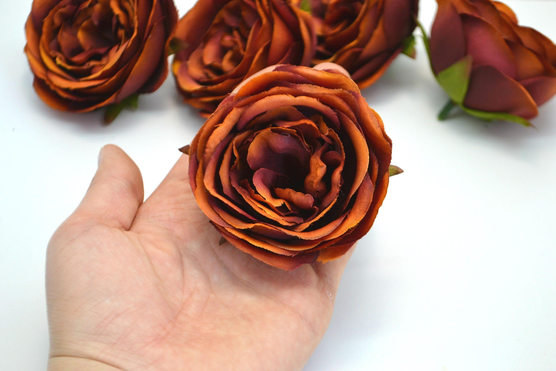 Brown Artificial Flowers Silk Flowers Artificial Roses Flower Heads