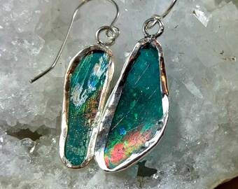 Roman Glass Earrings,silver and  Roman Glass Dangle Earrings, Roman glass and sterling silver drop earrings