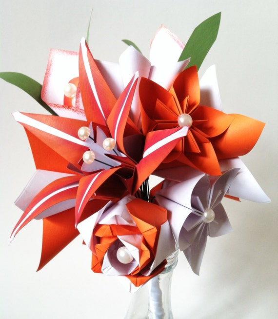 Fire Lily Paper Bouquet One Of A Kind Origami Calla