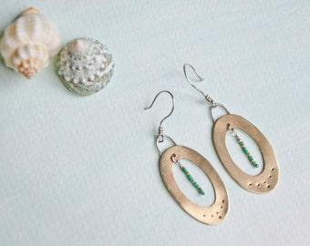 Brass Earrings | Oval Brass Earrings |  Drop & dangle Earrings | Seed Beads Earrings | Trendy Design |  Golden Splendor Earrings