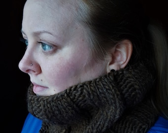 Cozy Chocolate Brown Wool Bulky Knit Ribbed Winter Cowl - one size fits all, stretchy, handmade, knit winter circle scarf by Hitt's Knits
