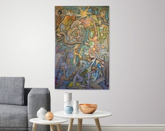 large abstract expressionist oil painting on panel