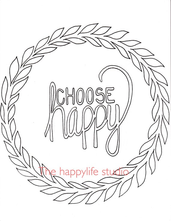 Choose happy coloring page simple adult coloring page coloring therapy motivational art positive vibes hippie gift self love artwork