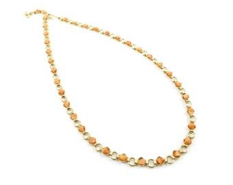 Vintage Coral Chip Necklace, Links, Gold Tone, J23