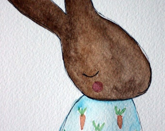 Boy baby bunny rabbit original watercolor, nursery, children's art, brown and blue, simple, pen and ink, whimsical, carrots