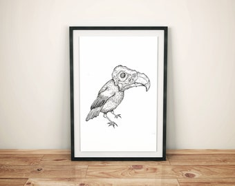 Skeleton Bird Art Print