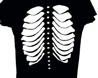 Rib Cage Cutout T Shirt / Goth Skeleton Cut Out Tee