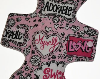 Moderate Core- Cute Pink Flannel Reusable Cloth Overnight Pad- WindPro Fleece 10.5 Inches (26.5 cm)