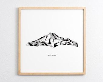 Mt. Baker Washington Polygonal Mountain Drawing - Art Print