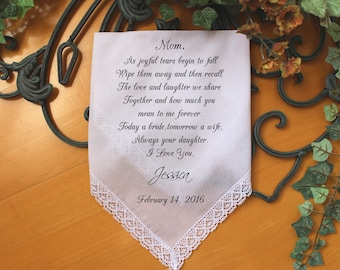 Mother of the Bride handkerchief, personalized PRINTED wedding Handkerchief, to dry your happy tears, Gift, Personalised. LS6FCAC[18]