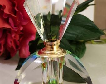 Crystal Art Deco, Vintage Perfume Refillable Bottle and Dauber