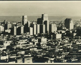 San Francisco California aerial view antique photo