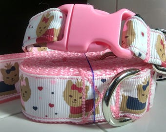 Yorkie puppies leash and collar set