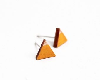 Triangle geomeric stud earrings - yellow, natural wood - minimalist, modern hand painted wooden jewelry