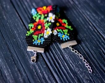 Red poppy boho bead summer adjustable bracelet ethnic ukrainian jewelry Gypsy botanical hippie bracelet poppy flower festival tribal jewelry