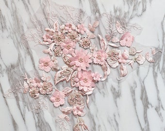 Pink Beading Floral Lace Patch ,3D Lace Patch ,Children's Wear Headwear Wedding Dress Accessories