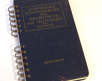 1948 ARCHITECTS ENGINEERS BUILDERS Handmade Journal Vintage Upcycled Book Vintage Architecture Engineering Textbook