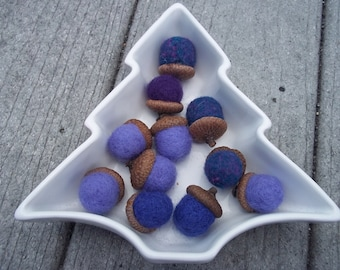 Needle Felted Acorns Purple