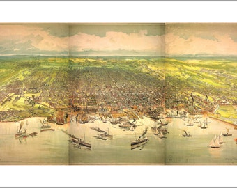 """Toronto Ontario in 1893 Panoramic Bird's Eye View Map by Barclay, Clark & Co. 22x13"""" Reproduction"""