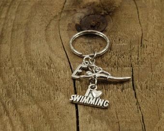 Swimmer keychain, swimming keyring, swim keyring, personalized swimmer gift, personalized swimming gift, initial charm, swim fan gift, swim