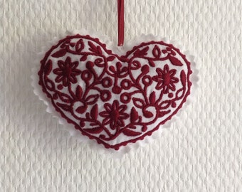 Embroidered hanging heart
