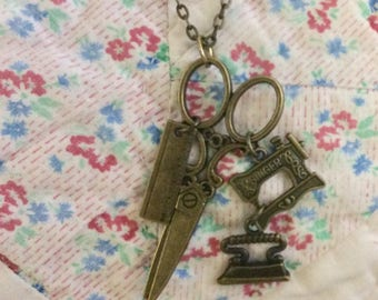 Sewing Necklace, Scissors Necklace, Sewing Machine Necklace, Quilter Necklace, Antique Brass Scissors Necklace, Sewing Charms, Canada