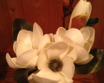 Magnolia bouquet etsy magnolia bouquet real touch silk artificial white magnolia mightylinksfo Images