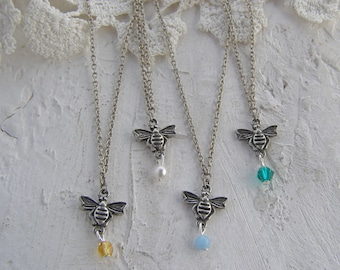 Bee Necklace, Simple Necklace, Bumble Bee Necklace, Bee Jewelry, Honey Bee Necklace, Gift for Her, Silver Dainty Necklace