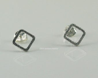 Solid white gold square earring, silver open square earring, solid white gold stud earring, handmade, solid white gold jewelry, minimalist