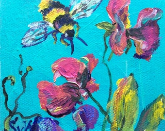 """Bee with flowers painting original art 4 x4"""""""