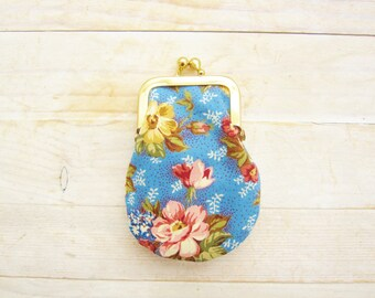 Coin purse mini kiss lock rosy tiny wallet clip frame change purse lipstick pouch flower rose blue pink yellow green gold bridesmaid gift