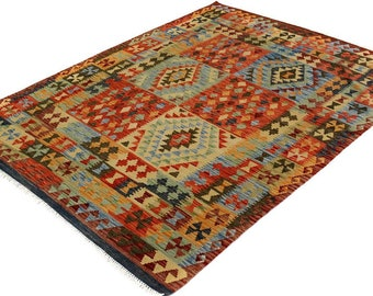 Kilim arya bryce brown/red hand-woven (5'0 x 6'6)
