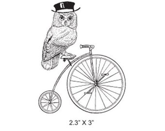 May Sale Owl With Top Hat on a Penny Farthing Cycle Rubber Stamp 335