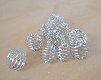 Ten Wire Spiral Pendants ~ Crystal Cage ~ 18 mm ~ Platinum Finish