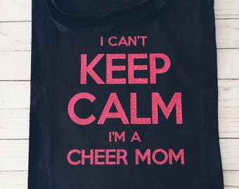 I can't keep calm I'm a mom Tote | Canvas Tote Bag | Reusable Grocery Bag | Library Tote | Gift for Her | Cheer Football Baseball Soccer Mom
