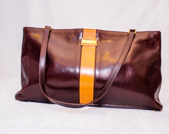 Vintage Kate Spade Brown with Camel Colored Band Leather Hand Bag.