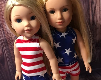 14.5 inch Doll Clothes - Red, White, and Blue tank mix and match