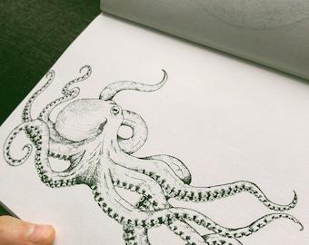 Black and White Octopus Art Print - Wall Art - Wall Decor - Drawing - Stippling Work