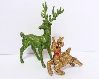 Vintage Glitter Reindeer Christmas Decorations/ Glitter Deer Ornaments/ Vintage Reindeer Christmas Decor