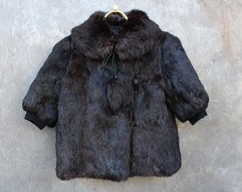 Soviet Kids Fur Coat, Vintage Natural Rabbit Fur Coat, Dark Brown Warm Winter Coat, Made in USSR. Collectible