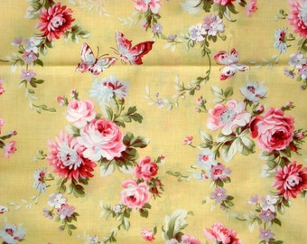 Pom Pom de Paris butterflies blooms yellow French General moda fabrics FQ or two