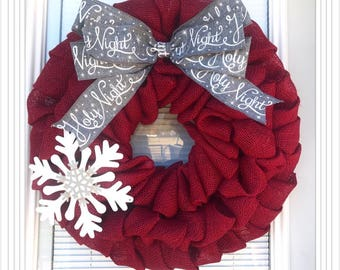 Christmas Wreath - Winter Wreath, Red  with Merry Christmas Ribbon , Holiday Burlap Wreath - Merry Christmas  Wreath, silent night wreath