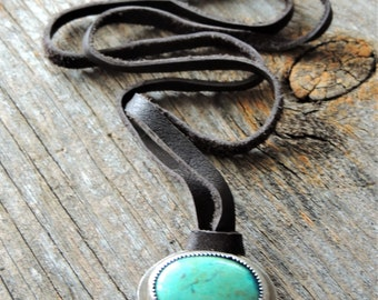 Leather Necklace With Turquoise Pendant, Bezel Gemstone, Chinese Turquoise, Statement Necklace, Artisan Jewelry, Southwestern Style, Rustic