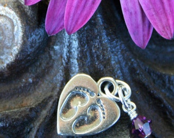 Baby Loss Memorial Charm -Tiny Footprints on a Mother's Heart