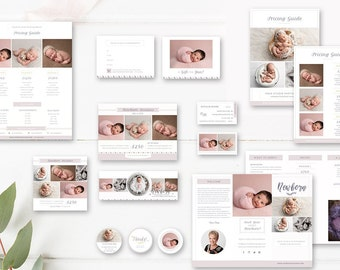 Newborn Photography Marketing Set, Baby Photographer Branding, Pricing Guide, Trifold Brochure, Mini Sessions - INSTANT DOWNLOAD